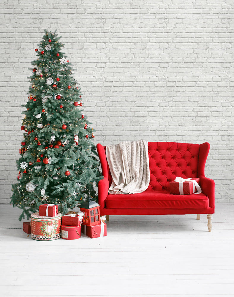 AX10810 winter vintage brick christmas peel and stick removable wallpaper decor from NextWall