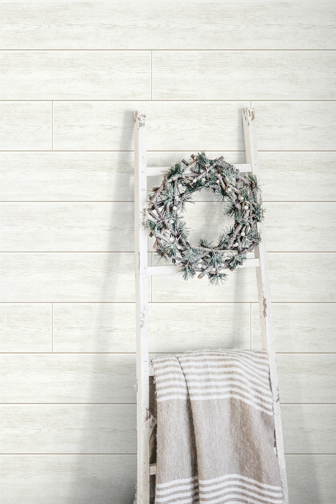 AX10910 farmhouse shiplap christmas peel and stick removable wallpaper wreath from NextWall