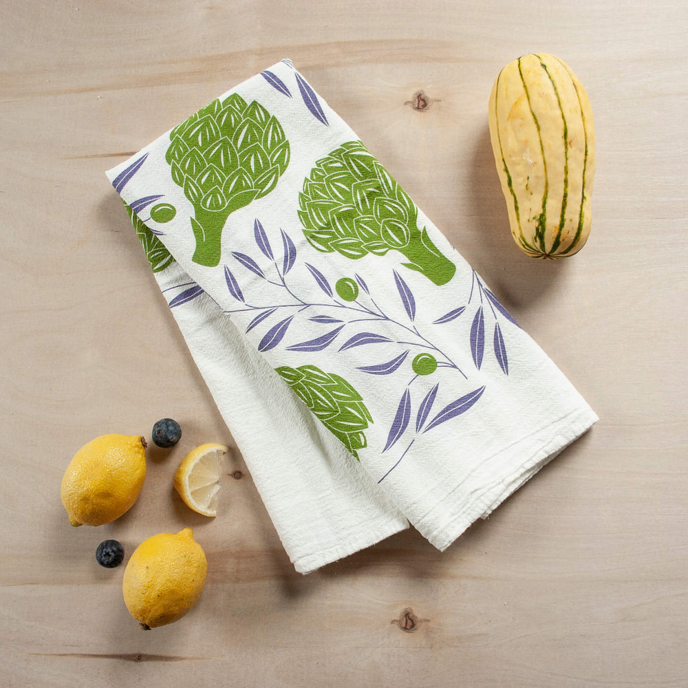 Hazelmade Artichokes + Olives Tea Towel