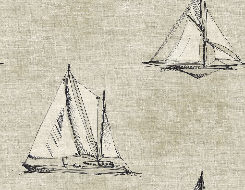 Cewell Bay Coastal Sailboat Wallpaper