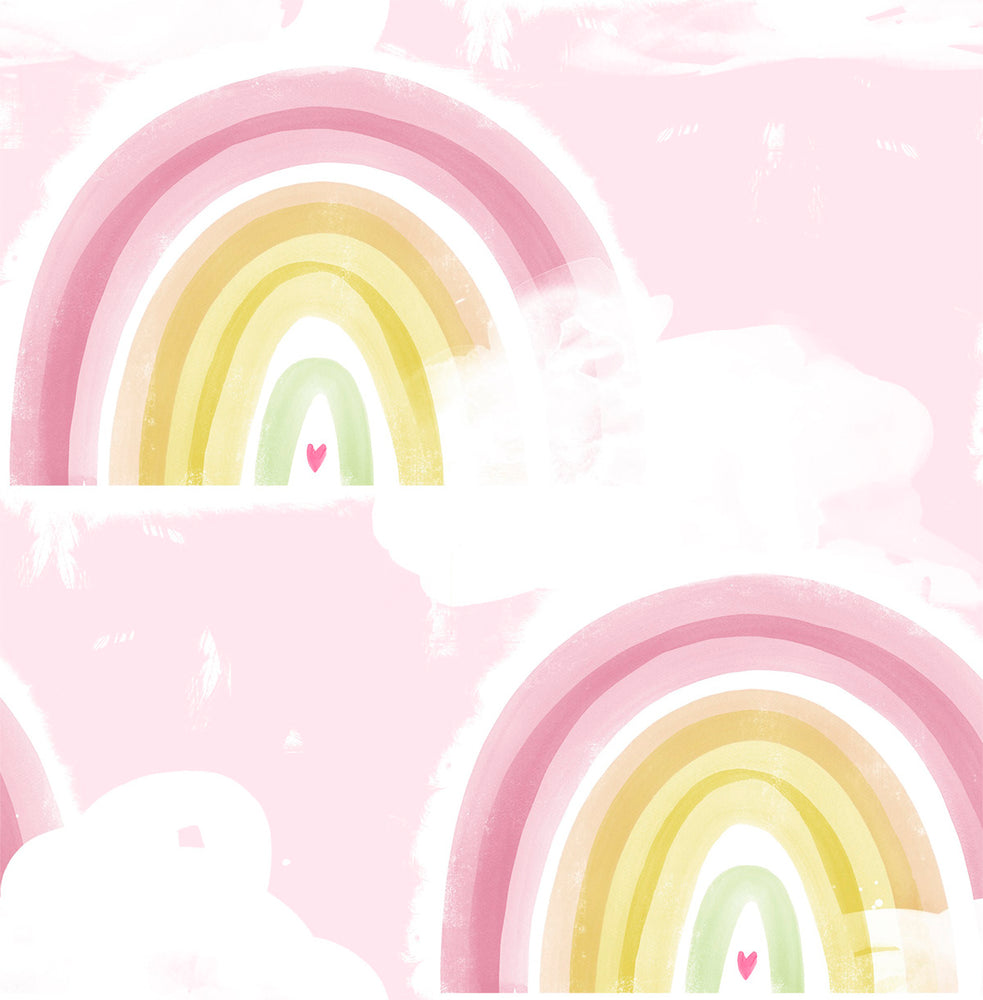 DA60201 pink kids rainbow nursery wallpaper from the Day Dreamers collection by Seabrook Designs