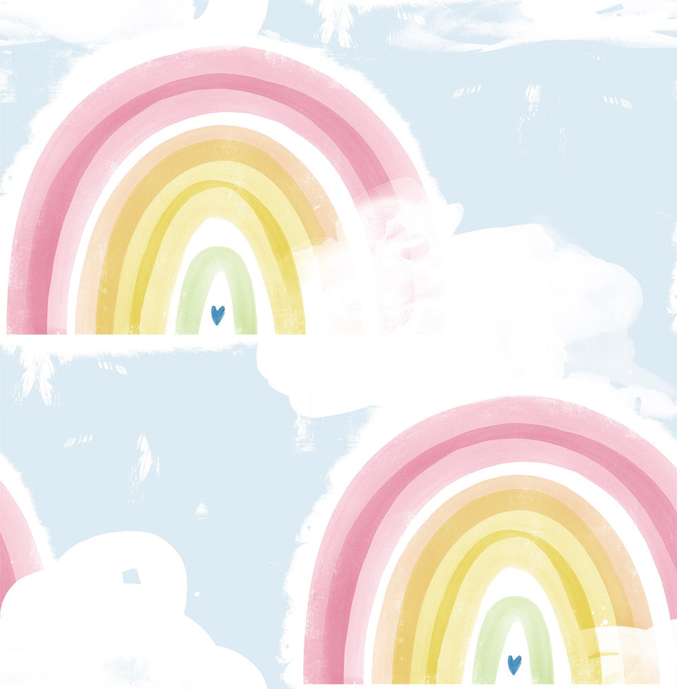 DA60202 blue kids rainbow nursery wallpaper from the Day Dreamers collection by Seabrook Designs