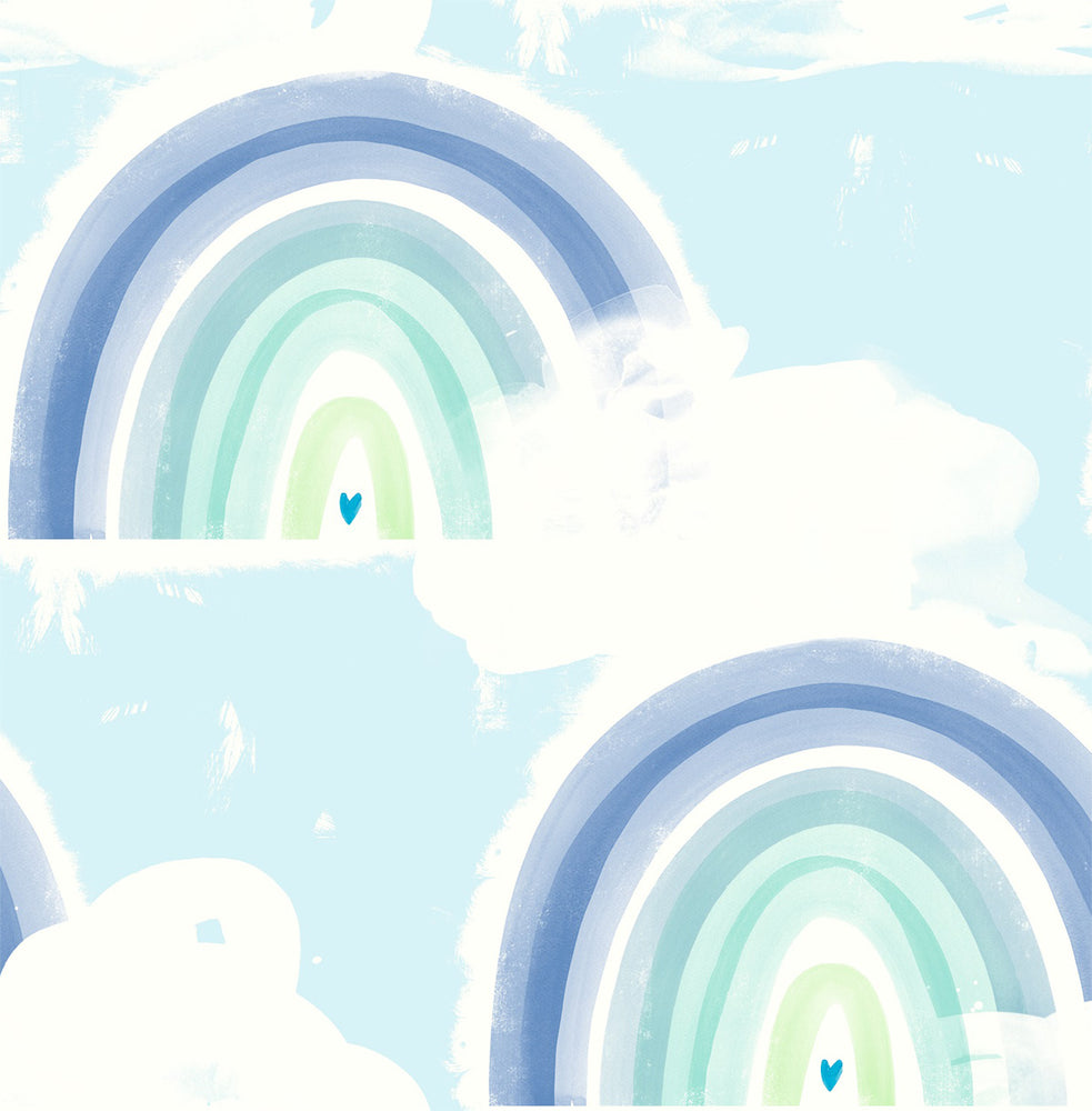 DA60204 blue kids rainbow nursery wallpaper from the Day Dreamers collection by Seabrook Designs