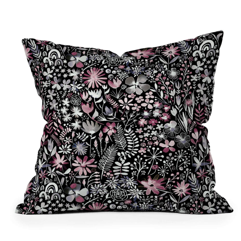 Ebony Winter Ink Florals Holiday Throw Pillow