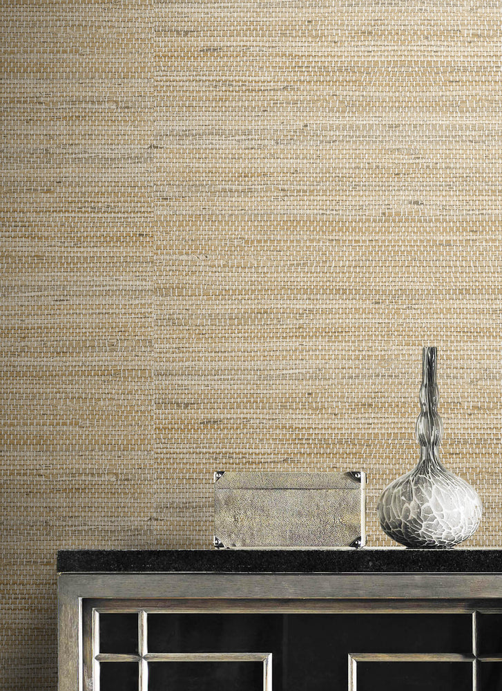 LN20206 Luxe weave grasscloth peel and stick wallpaper detail from the Luxe Haven collection by Lillian August
