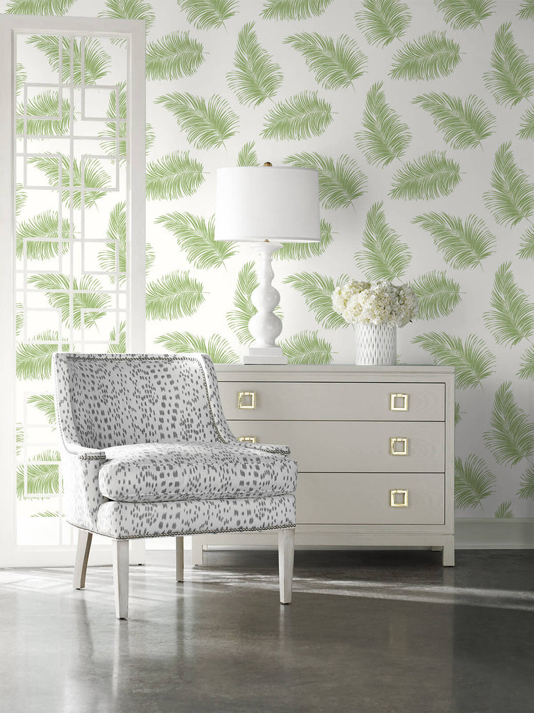 LN20304 tossed palm peel and stick removable wallpaper living room from the Luxe Haven collection by Lillian August