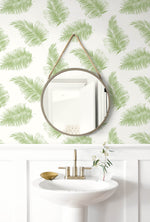 LN20304 tossed palm peel and stick removable wallpaper bathroom from the Luxe Haven collection by Lillian August