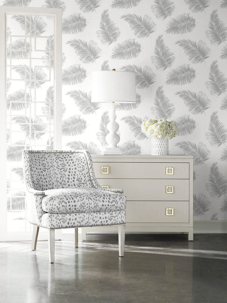 LN20305 tossed palm peel and stick removable wallpaper living room from the Luxe Haven collection by Lillian August