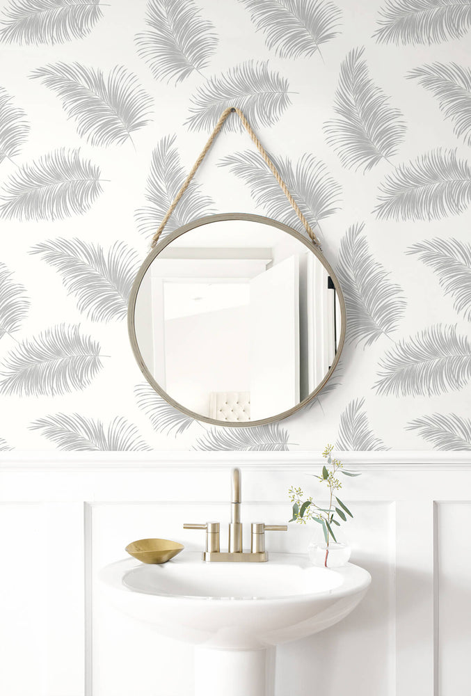 LN20305 tossed palm peel and stick removable wallpaper bathroom from the Luxe Haven collection by Lillian August