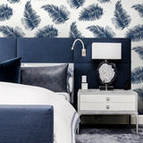 LN20312 tossed palm peel and stick removable wallpaper bedroom from the Luxe Haven collection by Lillian August