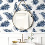 LN20312 tossed palm peel and stick removable wallpaper bathroom from the Luxe Haven collection by Lillian August