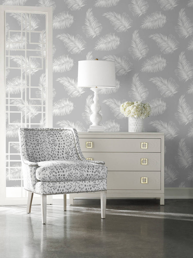 LN20315 tossed palm peel and stick removable wallpaper living room from the Luxe Haven collection by Lillian August