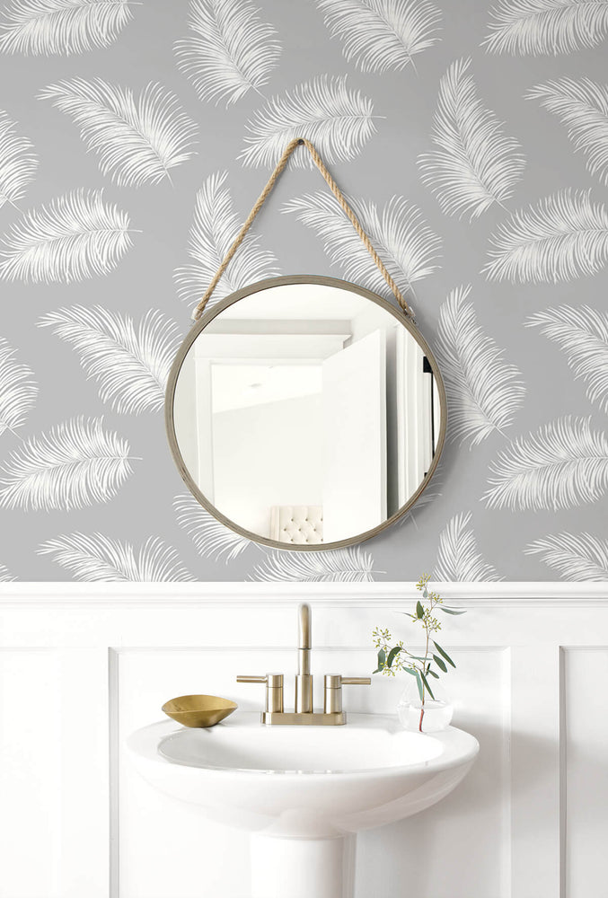 LN20315 tossed palm peel and stick removable wallpaper bathroom from the Luxe Haven collection by Lillian August