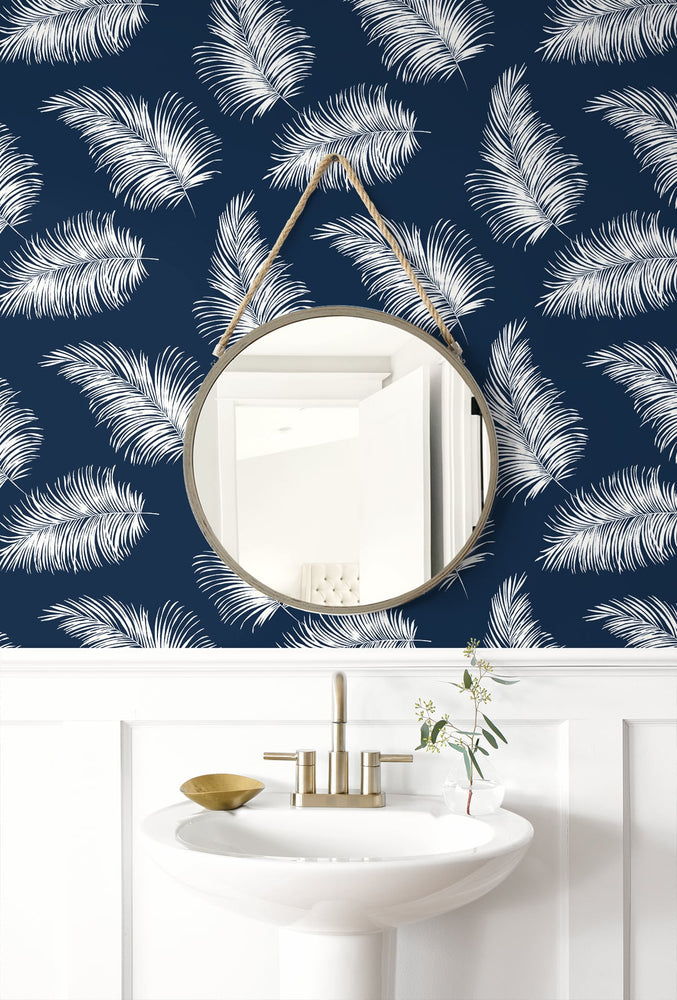 LN20322 tossed palm peel and stick removable wallpaper bathroom from the Luxe Haven collection by Lillian August