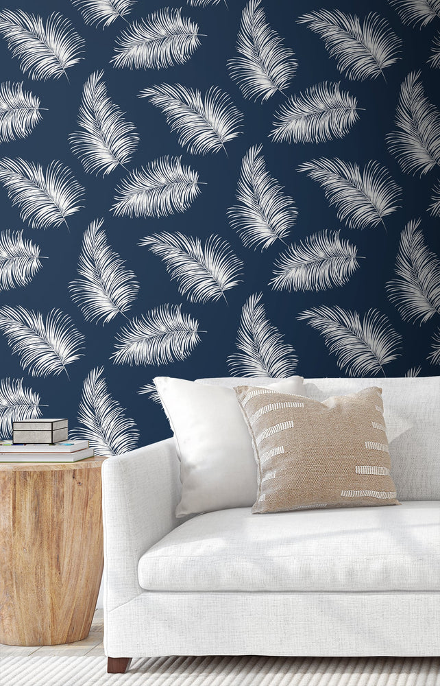 LN20322 tossed palm peel and stick removable wallpaper living room from the Luxe Haven collection by Lillian August