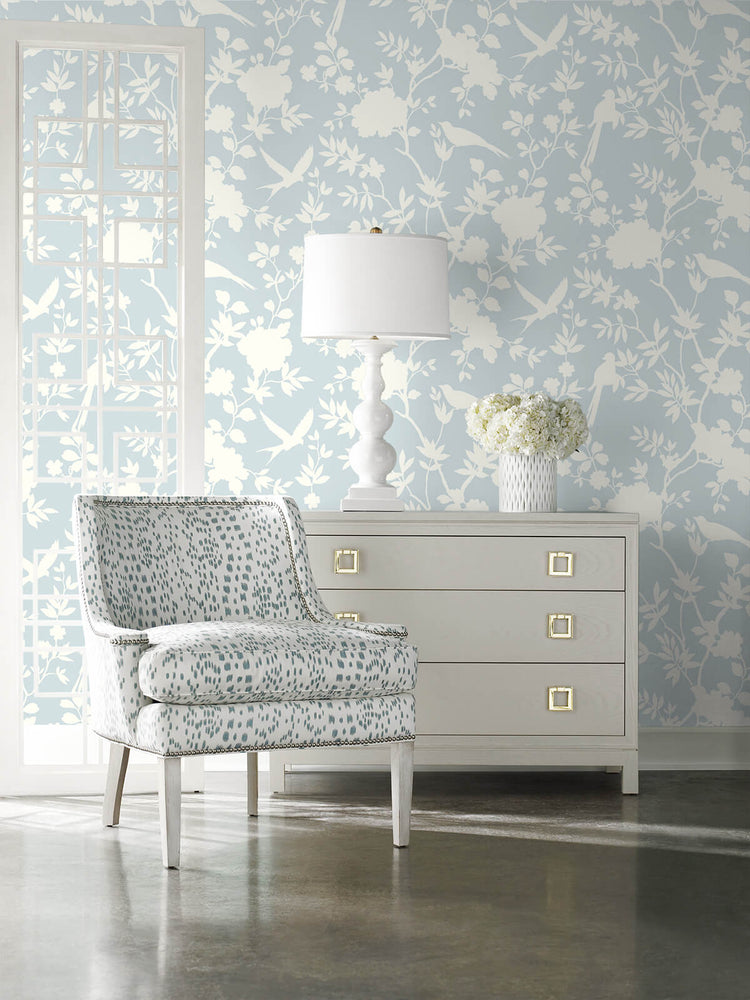 LN20502 mono toile chinoiserie peel and stick removable wallpaper living room from the Luxe Haven collection by Lillian August