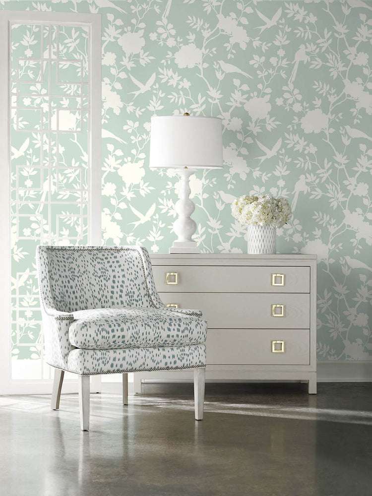 LN20504 mono toile chinoiserie peel and stick removable wallpaper living room from the Luxe Haven collection by Lillian August