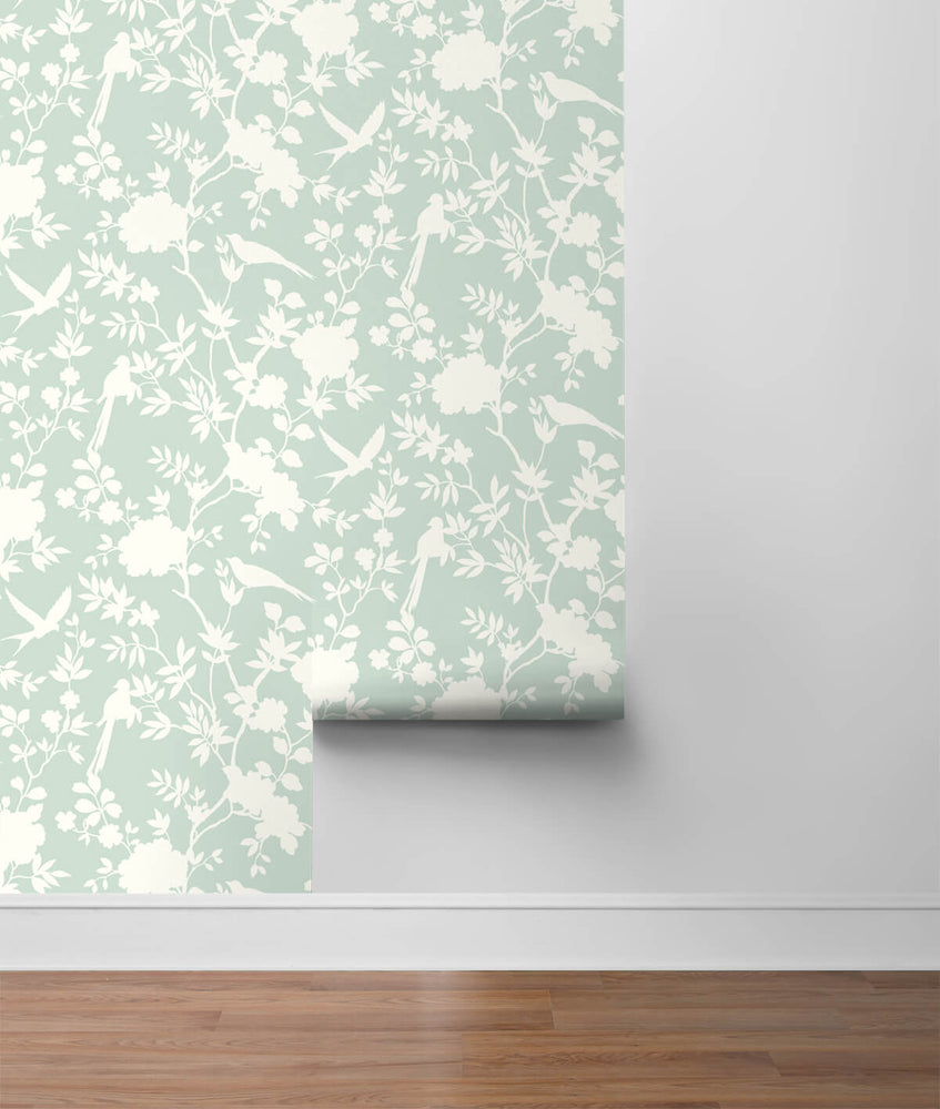 LN20504 mono toile chinoiserie peel and stick removable wallpaper roll from the Luxe Haven collection by Lillian August