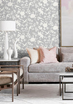 LN20505 mono toile chinoiserie peel and stick removable wallpaper living room from the Luxe Haven collection by Lillian August