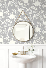 LN20505 mono toile chinoiserie peel and stick removable wallpaper powder room from the Luxe Haven collection by Lillian August
