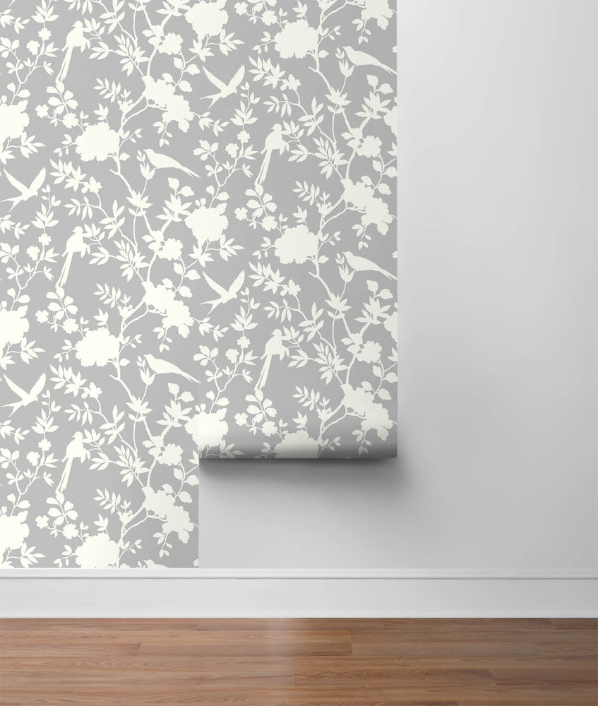 LN20505 mono toile chinoiserie peel and stick removable wallpaper roll from the Luxe Haven collection by Lillian August
