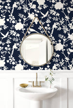 LN20522 mono toile chinoiserie peel and stick removable wallpaper bathroom from the Luxe Haven collection by Lillian August
