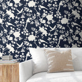 LN20522 mono toile chinoiserie peel and stick removable wallpaper living room from the Luxe Haven collection by Lillian August