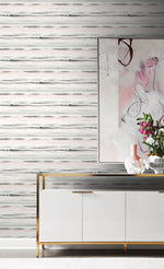 LN20601 horizon stripe abstract peel and stick wallpaper living room from the Luxe Haven collection by Lillian August