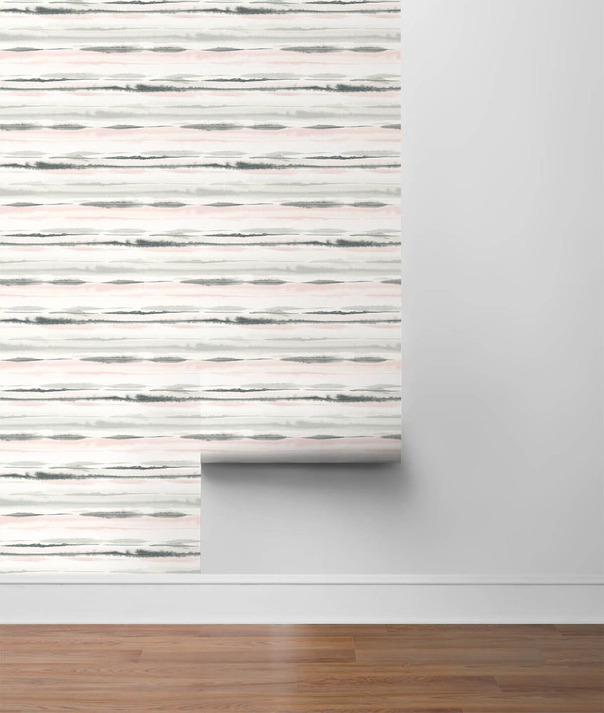 LN20601 horizon stripe abstract peel and stick wallpaper roll from the Luxe Haven collection by Lillian August
