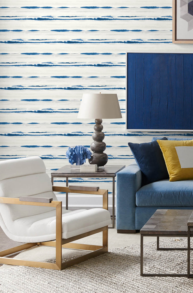 LN20602 horizon stripe abstract peel and stick wallpaper living room from the Luxe Haven collection by Lillian August