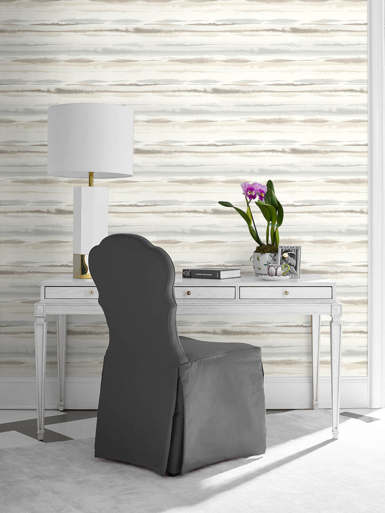 LN20605 horizon stripe abstract peel and stick wallpaper desk from the Luxe Haven collection by Lillian August