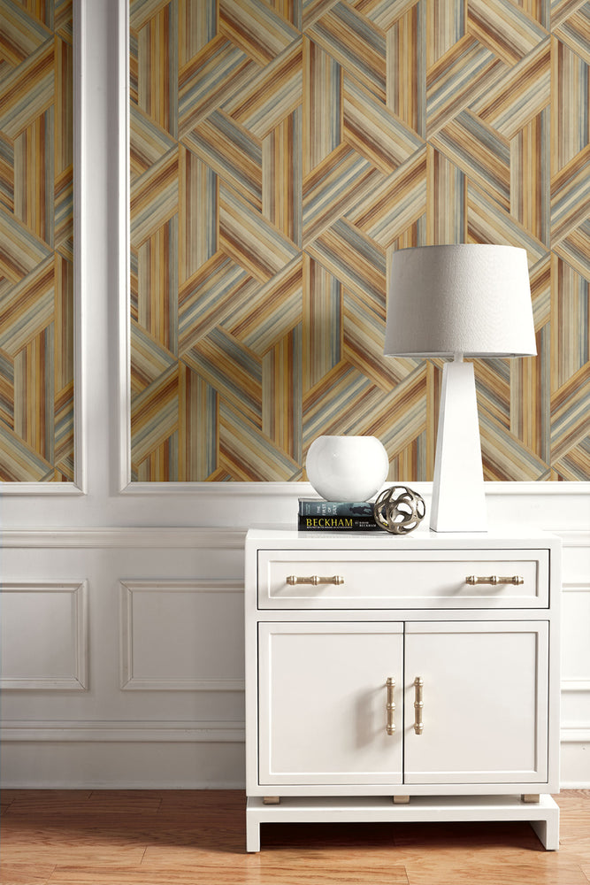 Seabrook Designs Living with Art Geo Inlay Striped Wallpaper