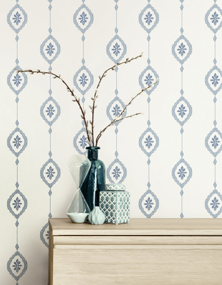 MB30512 sand dollar stripe nautical wallpaper decor from the Beach House collection by Seabrook Designs