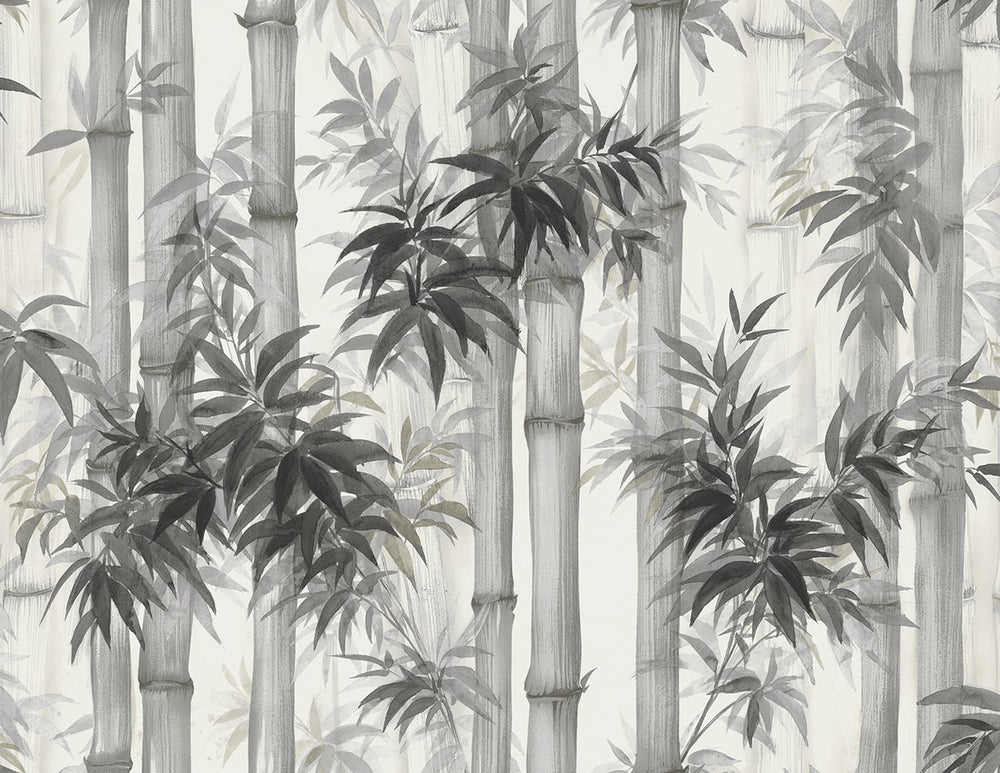 SD00501HN Moso bamboo watercolor botanical wallpaper from Say Decor