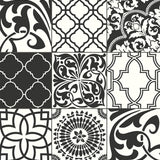 NW30300 peel and stick black moroccan tile removable wallpaper by NextWall