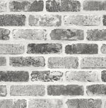 NextWall Gray Washed Brick Peel and Stick Removable Wallpaper