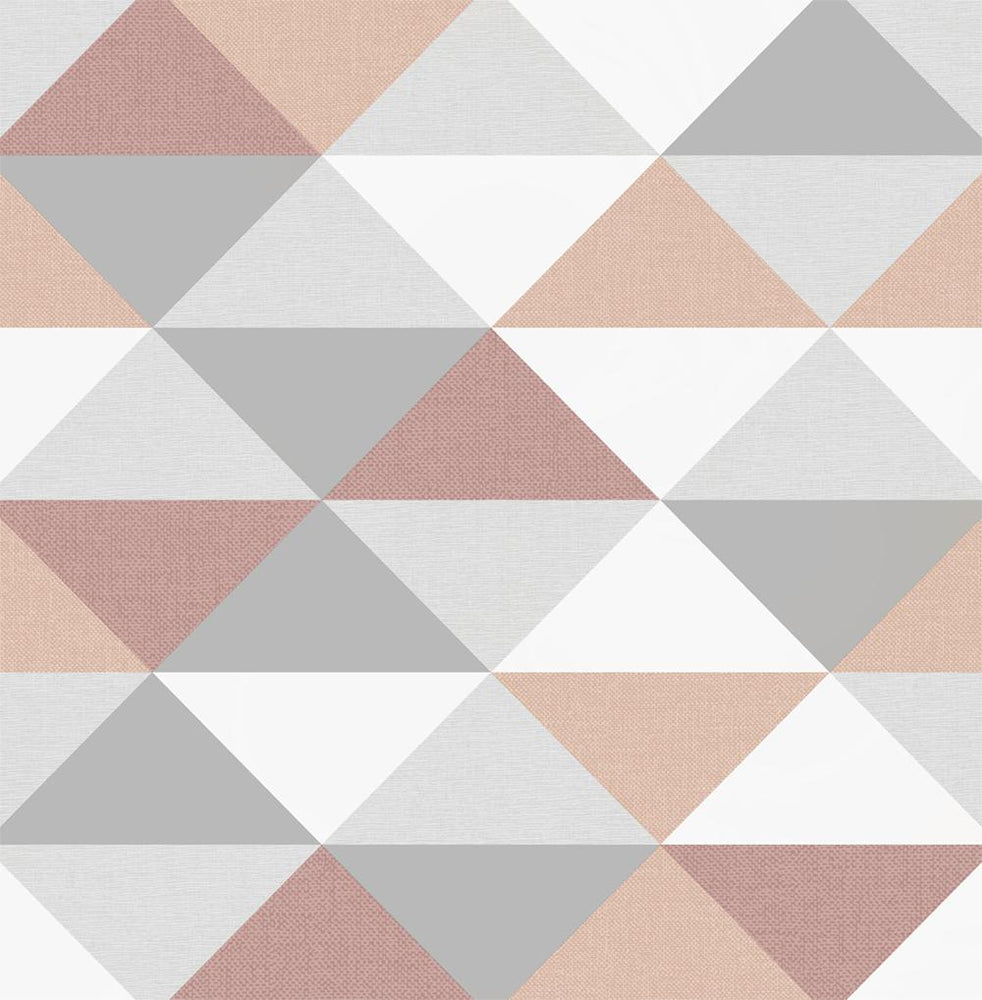 NW31100 peel and stick geometric pink and silver wallpaper by NextWall