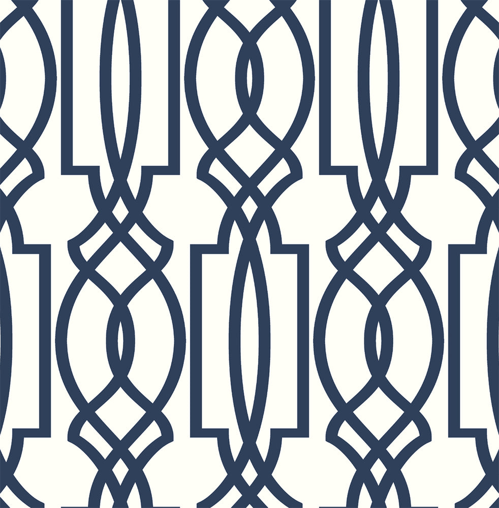 NextWall Navy Deco Lattice Peel and Stick Removable Wallpaper