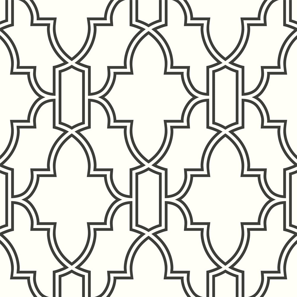 NW31600 peel and stick black and white trellis removable wallpaper by NextWall