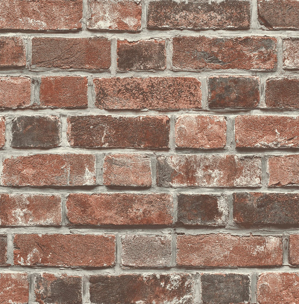 NW31700 peel and stick red brick farmhouse wallpaper by NextWall