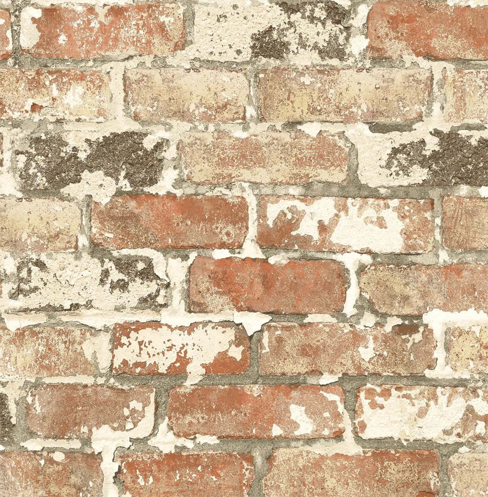 NW32301 peel and stick industrial red brick wallpaper by NextWall