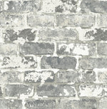 NW32308 peel and stick industrial gray brick wallpaper by NextWall