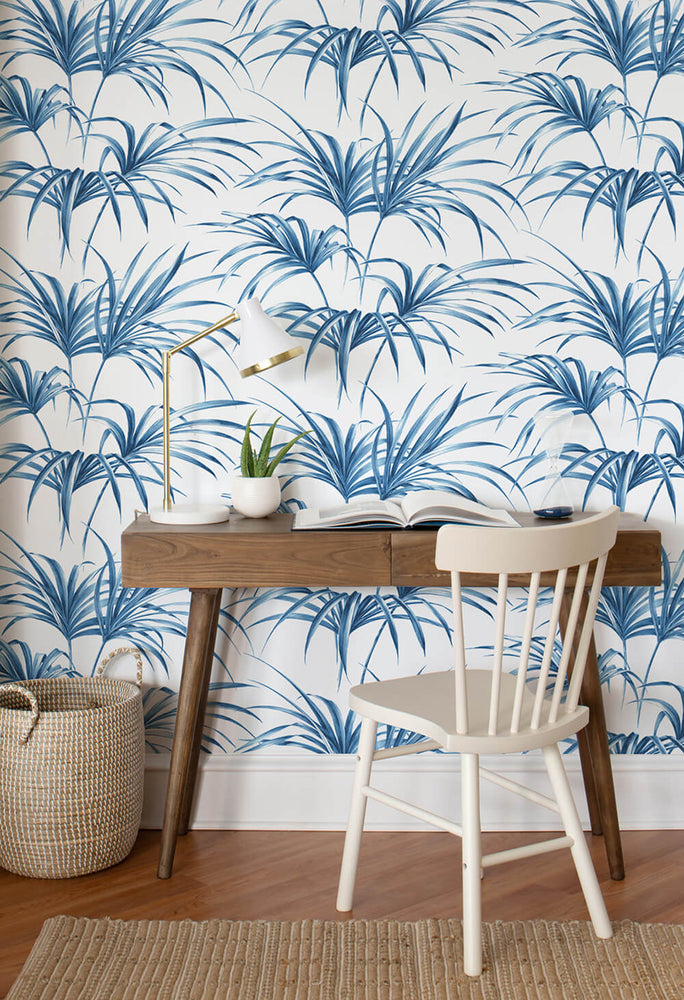 NW32502 tropical palm leaf peel and stick removable wallpaper desk by NextWall