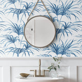 NW32502 tropical palm leaf peel and stick removable wallpaper bathroom by NextWall