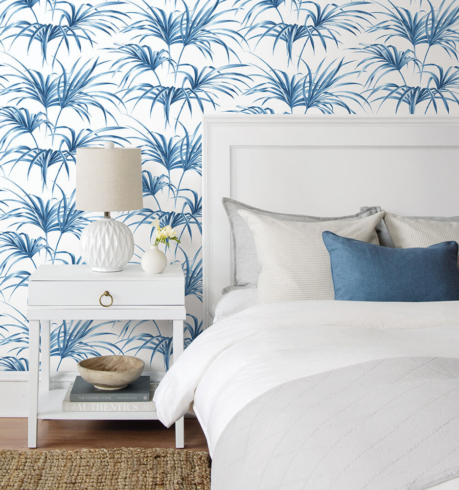 NW32502 tropical palm leaf peel and stick removable wallpaper bedroom by NextWall