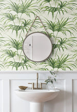 NW32504 tropical palm leaf peel and stick removable wallpaper bathroom by NextWall