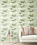 NW32504 tropical palm leaf peel and stick removable wallpaper living room by NextWall