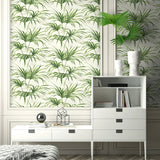 NW32504 tropical palm leaf peel and stick removable wallpaper bedroom by NextWall