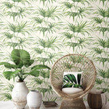 NW32504 tropical palm leaf peel and stick removable wallpaper chair by NextWall