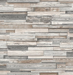 NextWall Gray Reclaimed Wood Plank Peel and Stick Removable Wallpaper